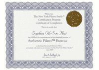 Pilates Inc. Certificate